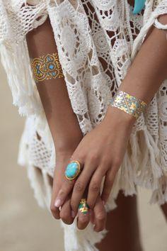 Turquoise Bracelet, Metallic Tattoos,Gold Temporary Tattoos by Skinjeweltattoos.com Jewel Tattoo, Gold Tattoo, Gold Temporary Tattoo, Hippie Bohemian, Tatoos, Flash Tattoos, Good Vibes, Crochet Projects, Turquoise Bracelet
