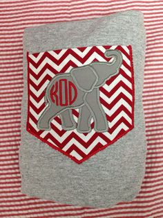 Personalized Gray Long Sleeve Adult Alabama Pocket tshirt/chevron pocket/ elephant applique/monogram  on Etsy, $26.00