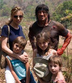 Jennifer Flavin & daughters visit hubby Slyvester on the Rambo set. Jackie Stallone, Frank Stallone, Sage Stallone, Sylvester Stallone Family, Jennifer Flavin, Stallone Schwarzenegger, Arnold Schwarzenegger, Celebrity Names, Celebrity Couples