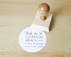 Custom Wedding Calligrapy Stamp - 2 inch Thank You For Celebrating With Us personalized rubber stamp for DIY wedding favors. $37.00, via Etsy.