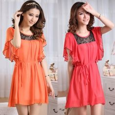 Ladies Flouncing Sleeve Slim Chiffon Dress from DressLink || Get 20% off http://www.studentrate.com/fashion/fashion.aspx