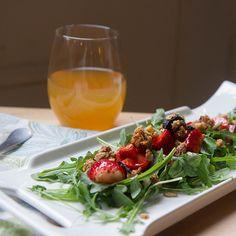 Gluten Free Strawberry & Arugula Salad w/ granola croutons & chocolate Balsamic Vinaigrette