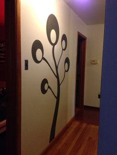 Pom Pom Tree Silhouette Painting done in Martha Stewart metallic