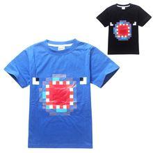 Мультфильм смешной малыш Футболки поп игры Minecraft рисунок Футболка для 5-14yrs kids fashion детская одежда горячие продажа(China (Mainland))