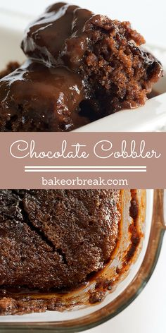 Chocolate Cobbler is a simple recipe to make with big results. As it bakes, it forms a cake-like topping and a gooey chocolate sauce on the bottom. - Bake or Break Chocolate Cobbler, Chocolate Desserts, Chocolate Smoothies, Chocolate Roulade, Chocolate Pudding Cake, Chocolate Shakeology, Chocolate Crinkles, Chocolate Drizzle, Chocolate Chocolate