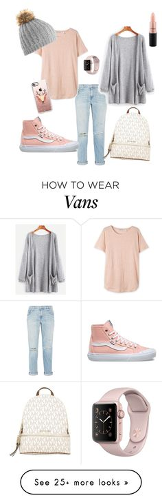 """Pink & Grey"" by lisa-hansen-2 on Polyvore featuring Current/Elliott, Vans, MICHAEL Michael Kors, Casetify and MAC Cosmetics"