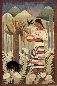 """The voice of beauty speaks softly; it creeps only into the most fully awakened souls."" ~ Friedrich Nietzsche Artist: Lola Cueto - Oaxaqueña , ca. 1928 Tapiz / manta, técnica cadeneta 118 x 74 cm lis Mexican Artists, Mexican Folk Art, Harlem Renaissance, Art Latino, Monuments, Jorge Gonzalez, Modern Tapestries, Kunst Poster, Ouvrages D'art"