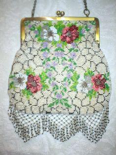 German Spider Web Floral Bag- terrilykins > albums > Antique Beaded Purses October 2007