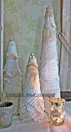 lace scrap christmas trees, christmas decorations, crafts, seasonal holiday decor, Lace Christmas Trees