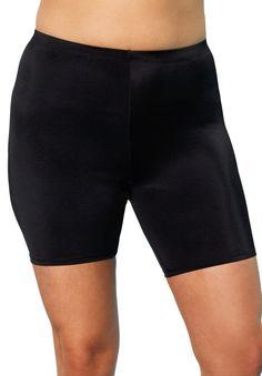Black Swim Bike Shorts by Aquabelle® | Plus Size All Swim | OneStopPlus