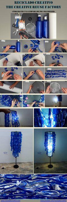 Lámpara de Pie Chandelier reciclando botellas de plástico pet azules  https://www.youtube.com/watch?v=0IECnXn0EiA