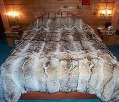 Fake wolf fur bed set