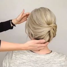 hair hair videos Easy to make style tutorial Pretty Braided Hairstyles, Formal Hairstyles For Short Hair, Short Hair Buns, Upstyles For Short Hair, Short Hair Wedding Updo, Hair Up Styles For Short Hair, Upstyle Short Hair, Short Hair For Brides, Makeup For Short Hair