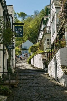 Narrow cobbled streets of Clovelly in Devon, England