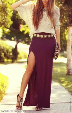 Long slit black maxi skirt and loose top♥†