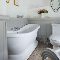 Beadboard Small Bathroom Pictures Cottage Bathroom Bottom Half Gray With Touches Of Blue Girls Bedroom Ideas House Bath And Bathroom Laundry Bathroom Decorating Ideas Apartment Grey Bathrooms, White Bathroom, Beautiful Bathrooms, French Bathroom, Small Country Bathrooms, Cottage Bathrooms, Rustic Bathrooms, Family Bathroom, Simple Bathroom