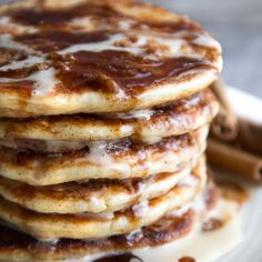 Cinnamon Roll Greek Yogurt Pancakes
