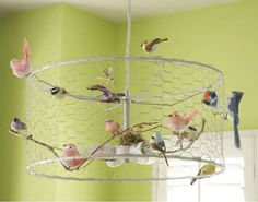 More ideas for lights - whimsical bird chandelier with chicken coop wire #DIY #recycle