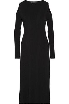Barbara Casasola - Cold-shoulder Ribbed Stretch-knit Midi Dress - Black - IT40