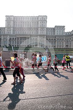 Runners at the Color run 2015 Bucharest next to the house of the people