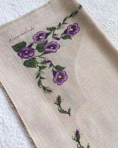 Cross-Stitch flowers stitch with purple and green colors. Cross Stitching, Cross Stitch Embroidery, Hand Embroidery, Cross Stitch Patterns, Embroidery Designs, Knitting Patterns, Crochet Patterns, Just Cross Stitch, Cross Stitch Flowers