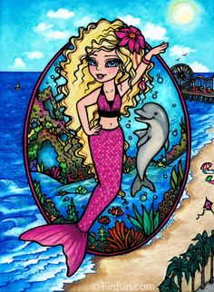 Fin Fun Mermaiden Waverlee. Mermaid princess of the Pacific Ocean. Read her story at FinFriends.com