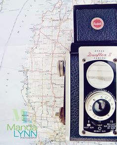 Vintage Camera and Maps print