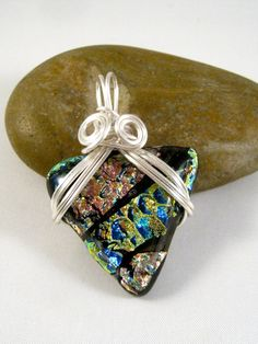 Wire Wrapped Black Blue Copper & Gold Dichroic Fused Glass Pendant Necklace, by Wrapped Up Treasures