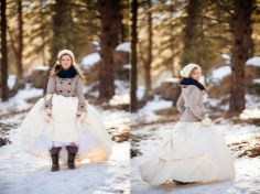 A lovely snowy trash the dress wedding photo shoot in the Colorado mountains.
