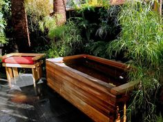 Designer Jamie Durie installed this Japanese-inspired tub in his own backyard so he could bathe under the stars. Built with cedar planks, the unlined tub's joints tighten up when filled with liquid, creating a watertight vessel.