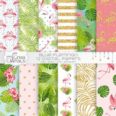 Tropical gold glitter flamingo 12 digital paper pack