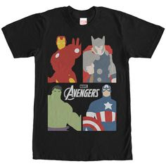 No villain stands a chance because the original Avengers are here to save the day on the Marvel Avengers Assemble Logo Black T-Shirt. This awesome black Marvel shirt features Iron Man, Thor, Captain America, and the Hulk in four square panels and  in