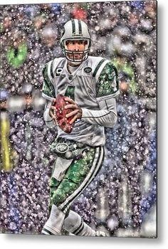 526825529 Bret Favre Metal Print featuring the painting Brett Favre New York Jets by  Joe Hamilton American