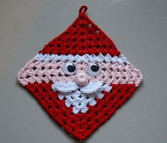 free crochet santa claus granny square / hot pad diagram pattern - so cute