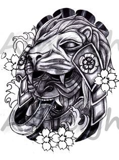 Japanese lion tattoo designs