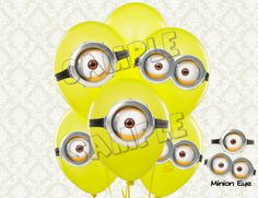 Minion Eyes - Despicable Minions Balloon Stickers - Large size 7 - Despicable Me Minions birthday party DIY Printable via Etsy