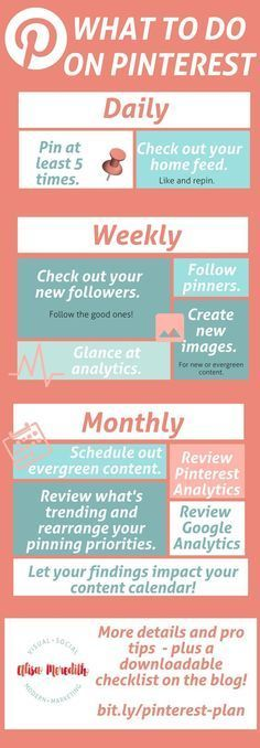 Exactly what to do on Pinterest daily, weekly, and monthly for ultimate Pinterest marketing success! via @alisammeredith