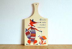 60's Retro Sly Fox Decorative Cutting Board - Holt Howard Japan on Etsy, $30.00