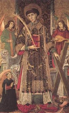 UNKNOWN MASTER, Spanish (active in 1450-1500 in Aragon)  Click! St Vincent and a Donor  1450-1500 Panel, 185 x 117 cm Museo del Prado, Madrid  The artist of the panel is referred to as the Master of Archbishop Dalmau of Mur