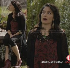 Wendy's red floral and lace top and red ankle boots on Witches of East End.  Outfit Details: http://wornontv.net/23637/ #WitchesofEastEnd