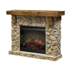 Pretty Electric Fireplace with Stone Frame. another one you can do it yourself with a blank wall and some stones and the right placement