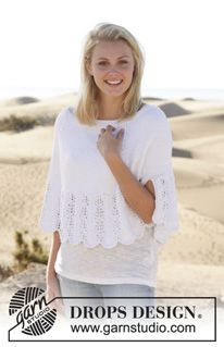 "Knitted DROPS poncho with wave pattern and vent in ""Cotton Light"". Size: S - XXXL. ~ DROPS Design"