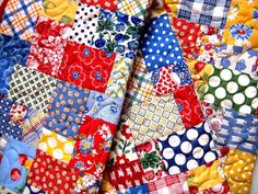 Quilted Patchwork Table Runner, Scrap Happy and Bright