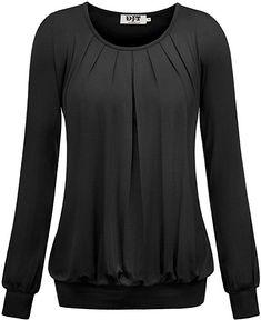 DJT Damen Langarmshirt Rundhals Falten T-Shirt Stretch Tunika Schwarz M: Amazon.de: Bekleidung