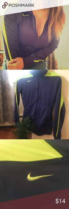 Nike track jacket LOVE these colors together —> plum purple and neon yellow. This jacket is in great condition! Super cute for athleisure look or a light spring/summer jacket 🍇🍋  #nike #athleisure #trackjacket #chill  ✨DM for bundles Nike Tops Sweatshirts & Hoodies