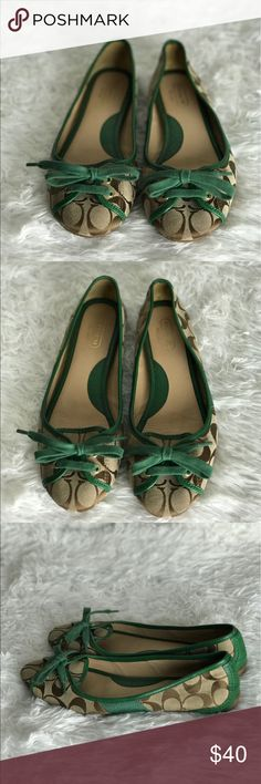 Coach Signature C's and Hunter Green Leather Flats Coach Josie Signature C's and Hunter Green Leather Flats Sz. 9 Flaws: lightly worn Coach Shoes Flats & Loafers