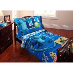 Disney Monsters Inc. Property of MU 3-Piece Toddler Bedding Set with Bonus Matching Pillow Case, Blue