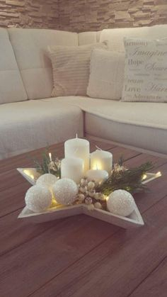 Star Shaped Tray With Lights And Candles