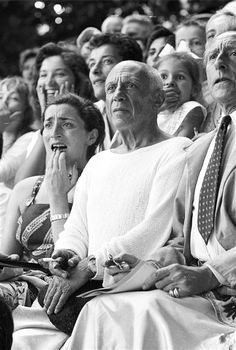 Pablo Picasso, Jacqueline Roque and Jean Cocteau at a bullfight, Vallauris, France, probably at the end of the 1950's .