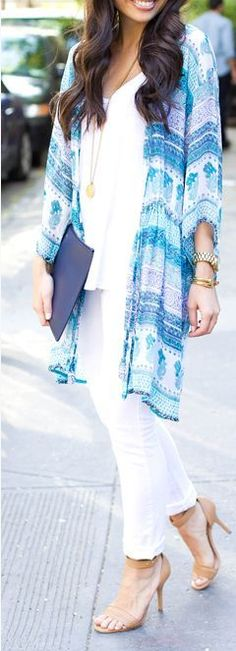 Barth Blue Sheer Waist Tie Cover Up Kimonos by With Love From Kat Passion For Fashion, Love Fashion, Fashion Trends, Runway Fashion, Style Fashion, Fashion Jewelry, Cozy Winter Outfits, Summer Outfits, Casual Outfits